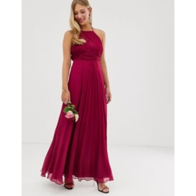 エイソス レディース ワンピース トップス ASOS DESIGN Bridesmaid pinny maxi dress with ruched bodice Winter berry