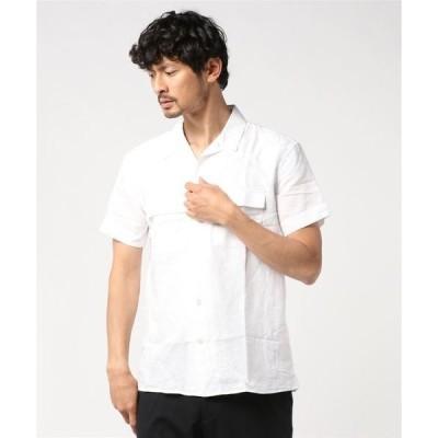 シャツ ブラウス リネンコットン キャンプシャツ