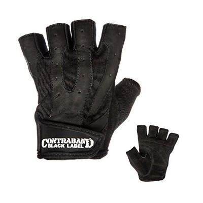 (Large, Black) - Contraband Black Label 5150 Pro Leather Weight Lifting Glo