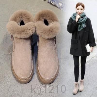 スノーブーツ厚底レディースフェイクファーシューズブーツムートンブーツ裏ボア女性用短靴雪対応防寒保温滑り止めショートブーツ