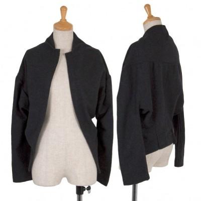 【SALE】ワイズY's ウールノーカラーボタンレスジャケット 濃グレー2 【レディース】