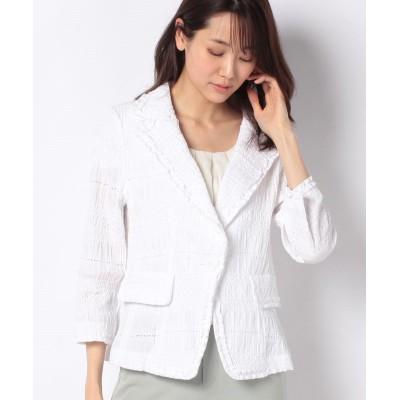 【マダム ジョコンダ】 シャーリング刺繍 ジャケット レディース ホワイトA 40 MADAM JOCONDE