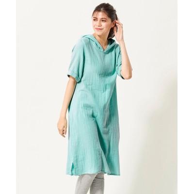 大きいサイズ  綿100%Wガーゼパーカーワンピース ,スマイルランド, ワンピース, plus size dress
