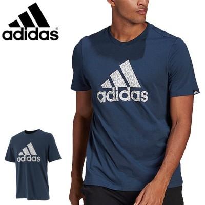 半袖 Tシャツ メンズ アディダス adidas M LEO LG グラフィックT/スポーツウェア ネイビー 紺 ビッグロゴ レオパード柄 カジュアル 男性 トップス/28978-GL2397
