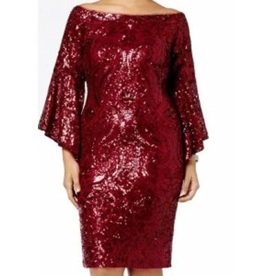Betsy & Adam ベッツィアンドアダム ファッション ドレス Betsy & Adam NEW Red Womens 18W Plus Sequin Bell-Sleeve Sheath Dress