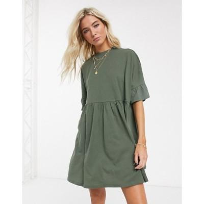 エイソス レディース ワンピース トップス ASOS DESIGN super oversized frill sleeve smock dress in khaki