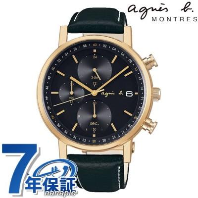 アニエスベー クロノグラフ ソーラー メンズ 腕時計 FBRD936 agnes b. ブラック 革ベルト