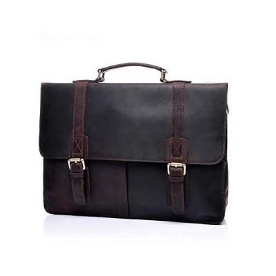 Men Vintage Leather Messenger Satchel Casual Case Slim Multi-Purpose School Travel Business 16Inch Laptop Computer Large,Brown,40CM【並行