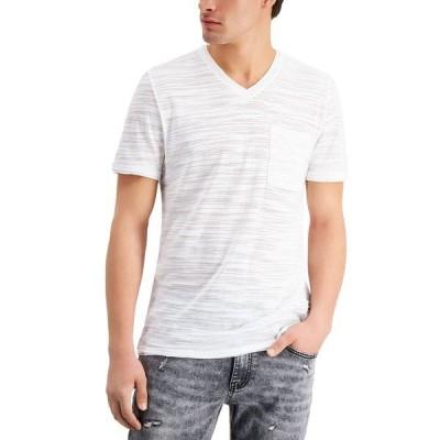 アイエヌシーインターナショナルコンセプト Tシャツ トップス メンズ INC Men's Broken-Stripe V-Neck T-Shirt, Created for Macy's White Pure