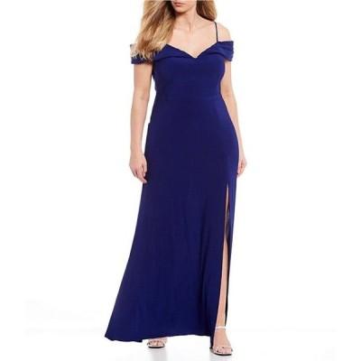 モルガン レディース ワンピース トップス Plus Off-the-Shoulder Portrait Neck ITY Long Dress
