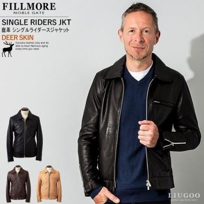 FILLMORE 本革 ディアスキンシングルライダースジャケット メンズ フィルモア SRY10A  レザージャケット/ブルゾン/アウター