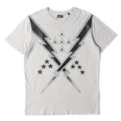 DIESEL ディーゼル Tシャツ 稲妻パッチ クルーネック Tシャツ グレー S 【メンズ】【中古】【K2740】
