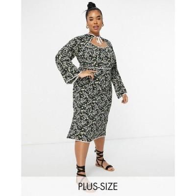 ファッションユニオン Fashion Union Plus レディース ワンピース ミドル丈 Midi Dress With Keyhole And Contrast Piping In Ditsy Floral ブラック