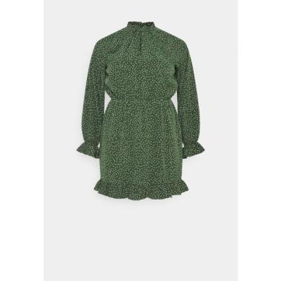 ミスガイデッド レディース ドレス HIGH NECK KEYHOLE DRESS POLKA - Day dress - green