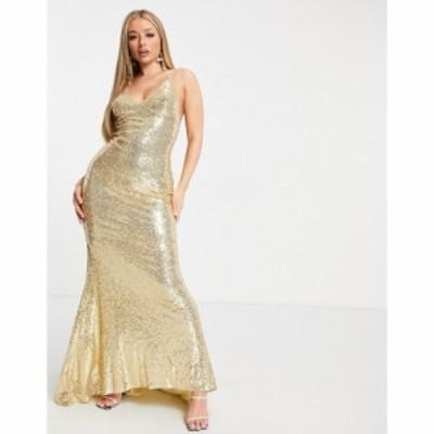 クラブエル ロンドン Club L London レディース ワンピース キャミワンピ Club L low back sequin cami maxi dress with fishtail in gol
