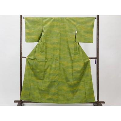 リサイクル着物 紬 正絹グリーンぼかし袷紬着物