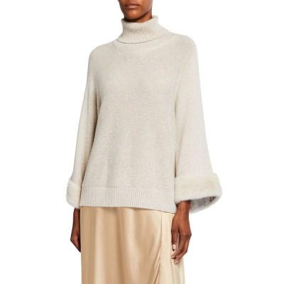 ラファイエットワンフォーエイト レディース ニット・セーター アウター Cashmere Chine Turtleneck Sweater w/ Mink Fur Cuffs
