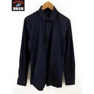 HUGO BOSS L Sシャツ(40)ネイビー[▼]