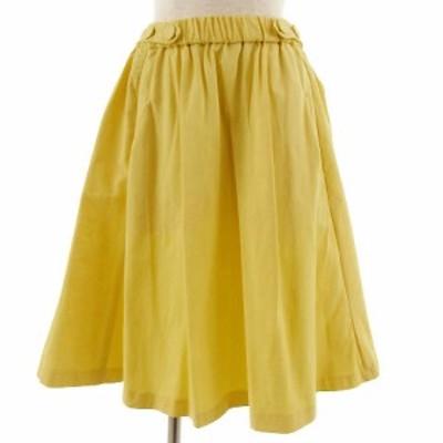【中古】ザラ ベーシック ZARA BASIC スカート ひざ丈 フレアー イエロー 黄色 S レディース