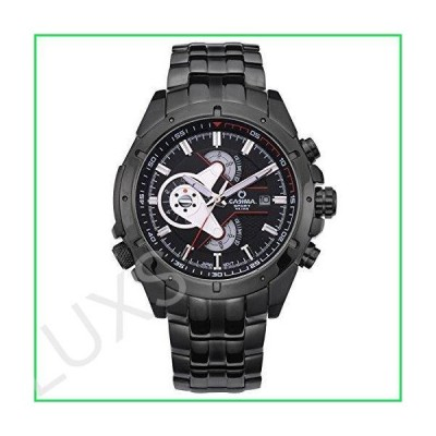CASIMA Men Sport Chronograph Fashion Stainless Steel Quartz Wrist Watches ST-8202-B7 並行輸入品