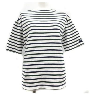 【中古】セントジェームス SAINT JAMES バスクシャツ Tシャツ カットソー 半袖 ボートネック 10 ボーダー 白 ホワイト 紺 レディース 【ベクトル 古着】