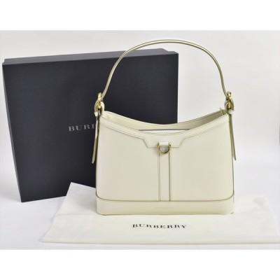 美品 バーバリー BURBERRY ハンドバッグ ホワイト セミショルダー 保存袋 箱き → 2011LR119