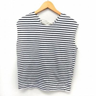 【中古】アダムエロペ Adam et Rope' カットソー Tシャツ ノースリーブ ボーダー バックレースアップ F ホワイト ブラック /ST37 レディース 【ベクトル 古着】