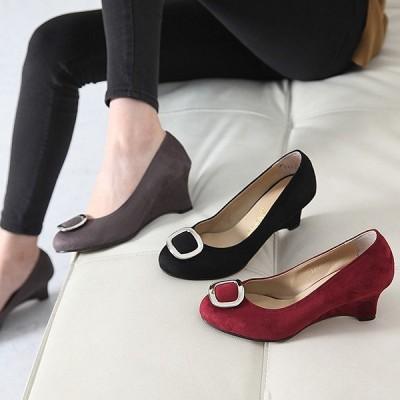 パンプス バックル ウェッジヒール ウェッジソール スエード調 パンプス ファッション レディース 靴 婦人靴 30代 40代 レディース