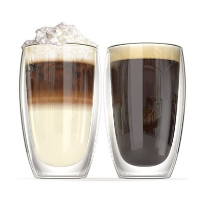 NDHT Heat resistant double-layer Thermo Glass Latte Coffee Glasses/Whisky/coffee cup/Tea Mug - 450ml (16 oz),Set of 2