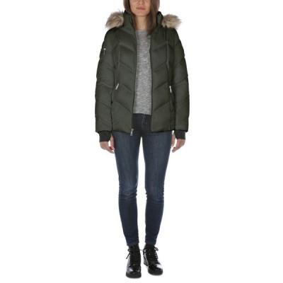ナウティカ レディース コート アウター Faux-Fur-Trim Hooded Puffer Coat
