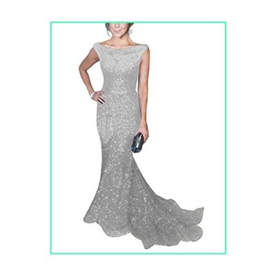 SOLOVEDRESS Women's Mermaid Sequined Formal Evening Dress for Wedding Prom Gown (US 16 Plus,Silver)並行輸入品