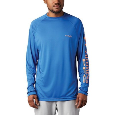 (取寄)コロンビア メンズ ターミナル タックル ロングスリーブ シャツ Columbia Men's Terminal Tackle LS Shirt Vivid Blue / Bright Nectar Logo 送料無料