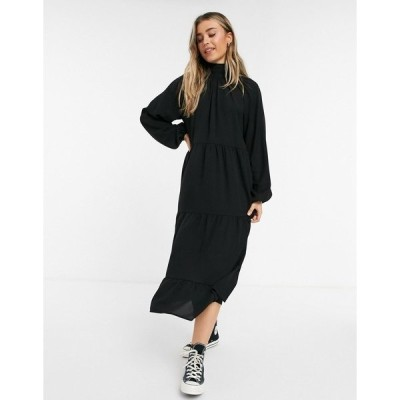 ローラ メイ レディース ワンピース トップス Lola May trapeze maxi dress with ruffle details in black Black