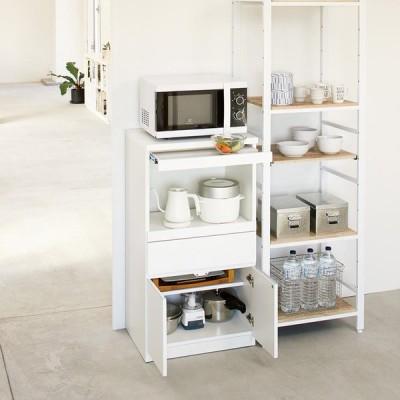 家具 収納 キッチン収納 食器棚 レンジ台 レンジラック 必要なものだけコンパクトに置ける ミニマリストのためのミニマルレンジ台 扉タイプ 幅59cm 569924
