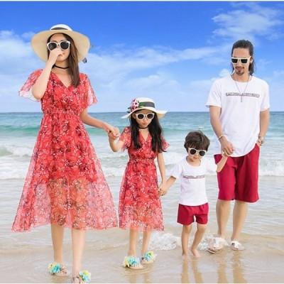 親子コーデ 親子ペアルック ビーチワンピース Tシャツ+ショートパンツセットアップ 家族お揃い 海旅行リゾート風カップルペアルック二点送料無料