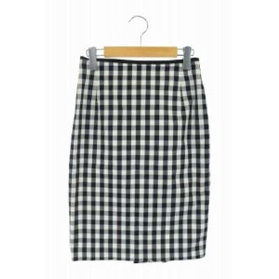 【中古】ノーリーズ Nolley's ギンガムチェックタイトスカート 膝丈 ストレッチ 38 黒 白 /AA ■OS レディース