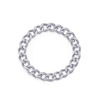 Sterling Silver Curb Chain Ring   Rhodium Plated Soft Chain Stacking Ring  