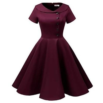ALAGIRLS レディーズ ヴィンテージスタイル 50年代スイングワンピース 可愛いボタン 膝丈 短袖 襟付き パーティー 結婚式 お呼ば