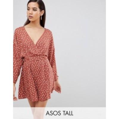 エイソス レディース ワンピース トップス ASOS DESIGN Tall casual skater mini dress in polka dot Polka dot