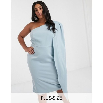 ラヴィッシュアリス ドレス 大きいサイズ レディース Lavish Alice Plus one shoulder cape detail midi pencil dress in blue エイソス ASOS ブルー 青