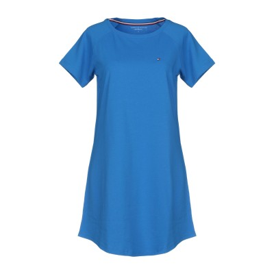 YOOX - トミーヒルフィガー TOMMY HILFIGER ミニワンピース&ドレス ブルー S コットン 100% ミニワンピース&ドレス