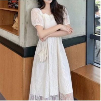 2色 レース ワンピース ミモレ丈 半袖 ベージュ パープル レディース ファッション 韓国 オルチャン