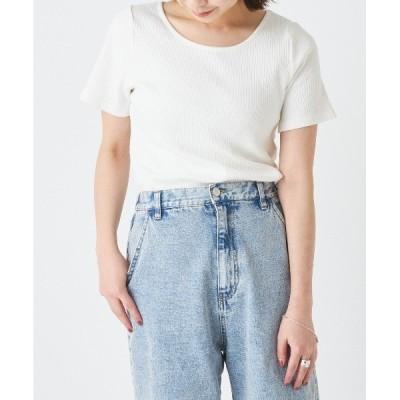 tシャツ Tシャツ 【2WAY】ランダムテレコリブ半袖カットソー/クルーネック・Vネックリブトップス