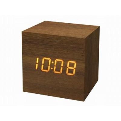 LEDクロック 【Licht(リヒト)】 落ち着きのある雰囲気が魅力  ブラック(ホワイト表示)LED-113BK/ブラウン(オレンジ表示)LED-113BR
