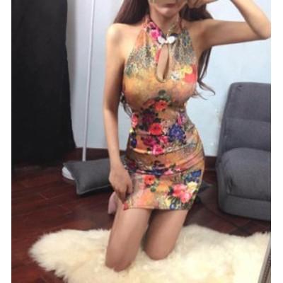 セクシー ワンピース レディース ミニ  着痩せ 細身 ナイトクラブ服 ノースリーブ チャイナ 花柄