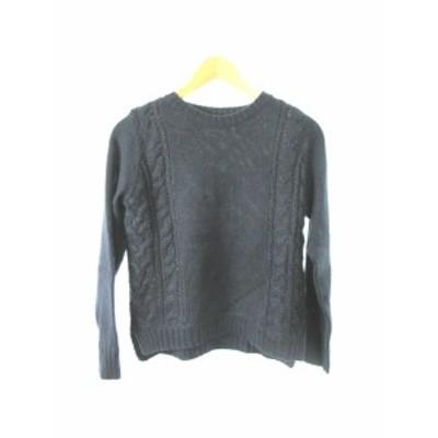 【中古】 ユナイテッドアローズ green label relaxing セーター ニット ケーブル 長袖 ウール混 F 紺 ネイビー  レディース