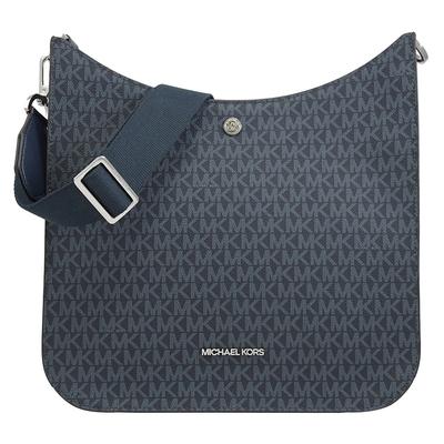 MICHAEL KORS BRILEY 金屬LOGO滿版品牌MK印花斜背包(藍)