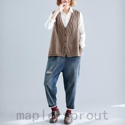 ノースリーブ 無地 Vネック ベスト とろみ ゆる 秋 冬 ファッション 大きいサイズ セレブ