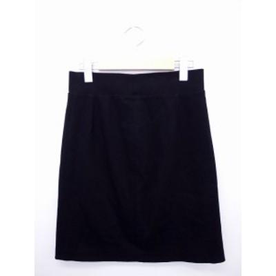 【中古】ガリャルダガランテ GALLARDAGALANTE タイトスカート シンプル 無地 コットン 綿 バックジップ ウエストゴム 1 ブラッ