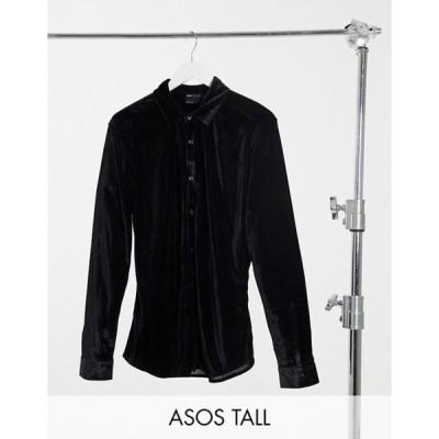 エイソス メンズ シャツ トップス ASOS DESIGN Tall skinny fit velvet shirt in black